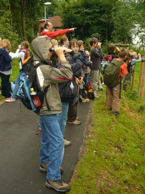 Geocaching: wo finden wir Eisvogel und Blesshuhn, eine Suche mit dem Schillergymnasium (Juni 2009, Foto: Carola Preuß)
