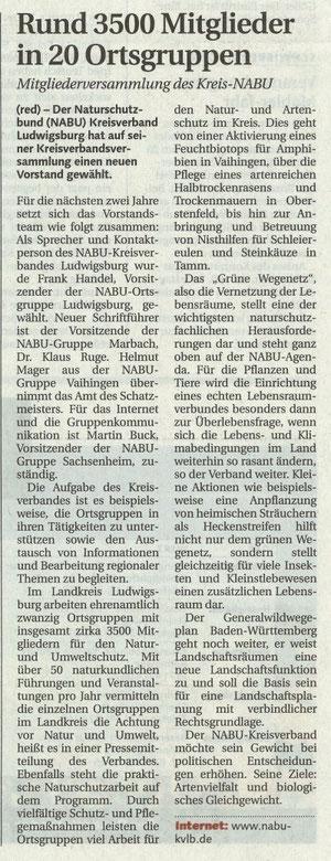 LKZ vom 28.06.2011 NABU-Kreisverband Ludwigsburg hat neuen Vorstand
