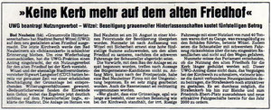 Wetterauer Zeitung vom15. Oktober 1999