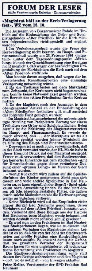 Wetterauer Zeitung vom 20. Oktober 1984