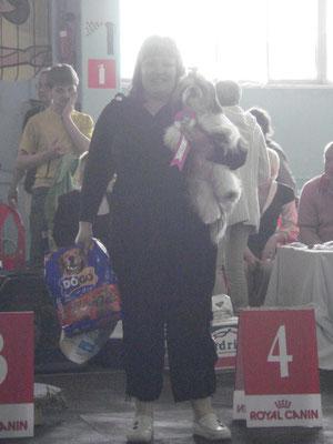 первая выставка и сразу  4 место в БЕСТе щенков