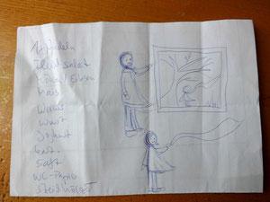 Skizze auf Einkaufszettel