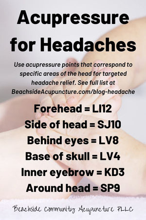 Acupressure points for headaches