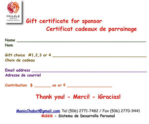 Gift certificate - Certificat cadeau / CLICK ON THE IMAGE TO ENLARGE / CLIQUER SUR L'IMAGE