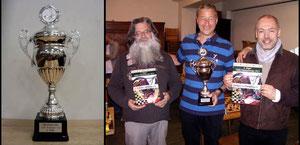 Der Pokal und die drei vom Podest: Günther, Stefan und Egmont