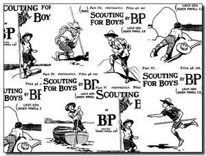 """Portadas de los fascículos de """"Scouting for boys""""."""
