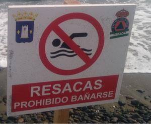 Señal de aviso por corrientes de resaca
