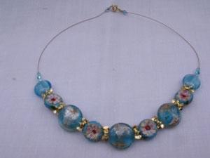 Collier perles de verre et cloisonnées