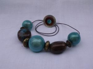 Collier perles magiques et céramique - bague boutons de nacre