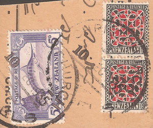 1935 Original issue, Scarce early useage. Christchurch parcel piece.