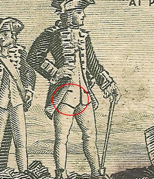 R 2/8 A dot near the bottom of Cooks waistcoat found in 'D' and 'G'