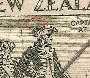 R 5/12 Mark over Cooks head, This image shows evidence of retouching once mark removed.