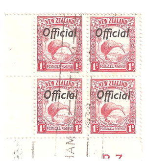 1936 plate block of four,Lo2d, Partial B3.