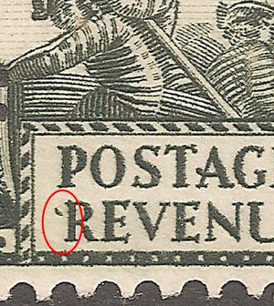 R 3/10 A curved dash to left of Revenue.Also small dot below W and Z of New Zealand.