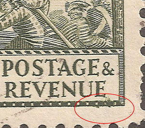 R 9/1 Irregular flaw in bottom right hand corner.