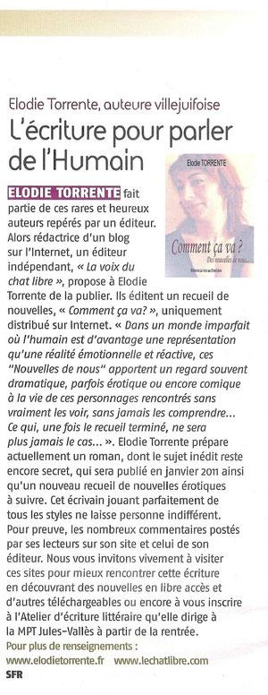 Article Villejuif Notre Ville sur Elodie TORRENTE
