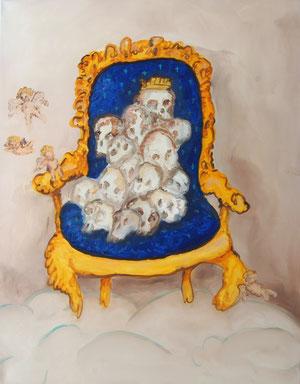 Stuhl mit Schädeln, 2013, 90cm x 70cm, Oil on canvas