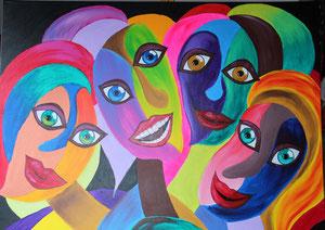 © Lachende Frauen,  Acryl auf Leinwand, 100 x 80cm