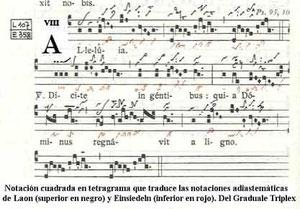 Edad Media. escritura gregoriana con tetragrama.