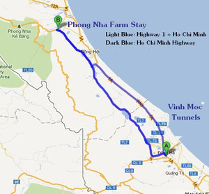 Route to Phong Nha Farmstay (Click on to enlarge)