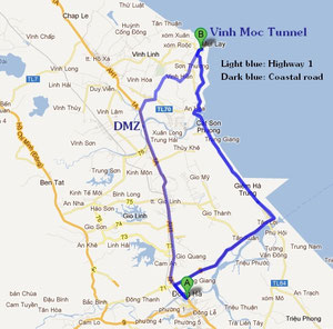 Route to Vinh Moc Tunnels (Click on to enlarge)