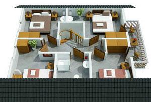 Bovenverdieping van het vakantiehuis