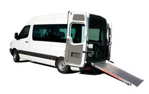 Mercedes-Benz Sprinter with hydraulic lowering rear suspension.