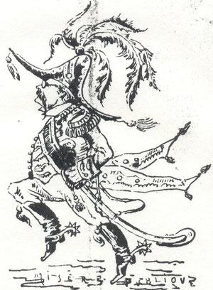 Le Gouverneur Le Boucher caricaturé dans le journal La Lanterne
