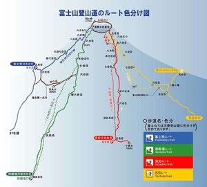 登山ルート別に色分け表示されています。クリックで拡大