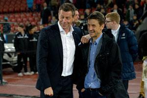 Trainer Michael Skibbe (GCZ) und Trainer Urs Meier (FCZ) nach dem Spiel