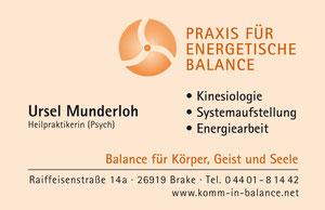 Wesermarsch, Brake, Praxis für Energetische Balance, Ursel Munderloh, Familienaufstellung, Energetische Kinesiologie, Energiearbeit