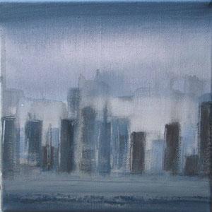 Blue city III  - acrylique sur toile -25 x 25 - 2012