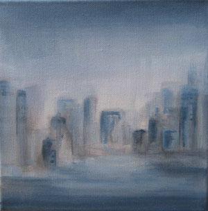 Blue city II - acrylique sur toile -  25 x 25 - 2012