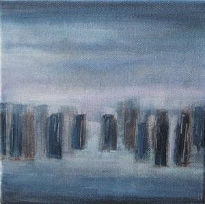 Blue city I  - acrylique sur toile -  25 x 25 - 2012