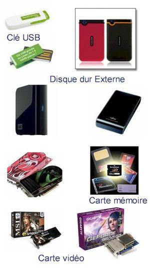 Clé USB, Disque externe, Carte vidéo ...