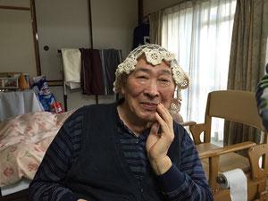 レース編みの帽子が意外と似合う小松さん(〃⌒ー⌒〃)