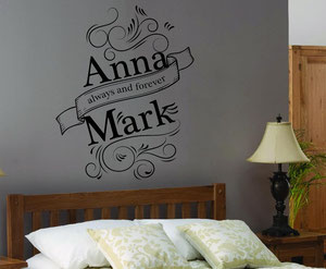 "Bedroom wallart image, showing the words ""Anna and Mark, always and forever."""