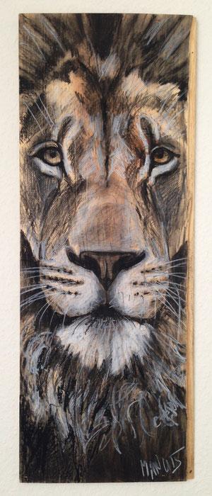 """""""Lion II"""", Kohle und Wachsstifte auf Holz, 2015"""