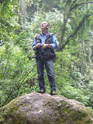 Regenwaldschutz - Wir wollen dass das so bleibt. Projektkoordinator Harald Petrul im artenreichen Bergregenwald bei San Ramon, Chanchamayo, Peru Foto: Giannina Petrul (Juni 2011)