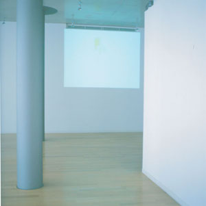 installation view of 'a lie before breakfast' / 2002  video , roop / phpto  M.Fujikawa