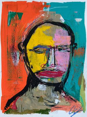 Face XVI, 2019  Acryl, Gouache,Oelpastell auf Papier  40 x 30 cm
