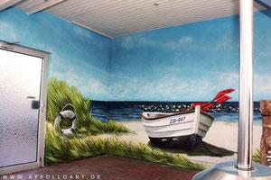 Spayer malen Urlaubsmotiv als Graffiti Illusionsbild