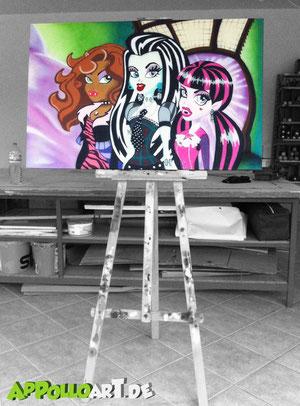 Halloween malerei mal anders :)...diesmal keine Fassade oder Wand sondern eine tolle farbige Leinwand