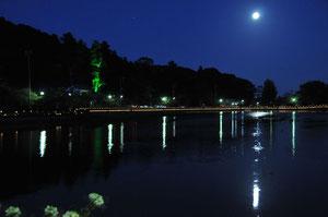 最福寺さんの大杉もライトアップ。湖面にも月が