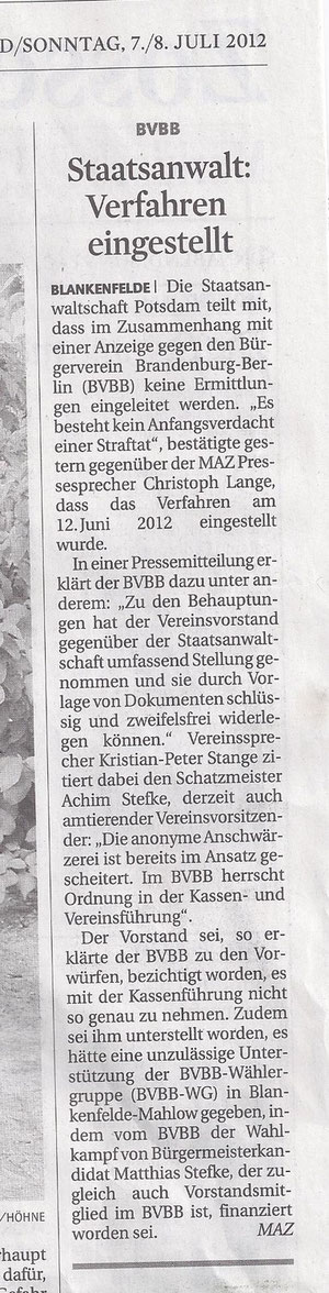 MAZ/Zossener Rundschau 7./8.7.12
