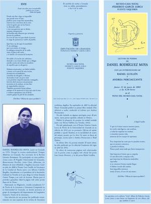 Folleto de la presentación de Oficina de sujetos perdidos en la casa natal de Federico García Lorca