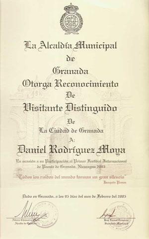 Reconocimiento como visitante distinguido de Granada (Nicaragua)