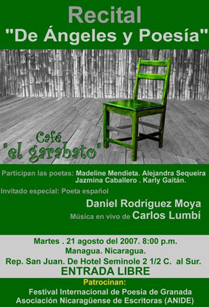Cartel de una lectura en Managua