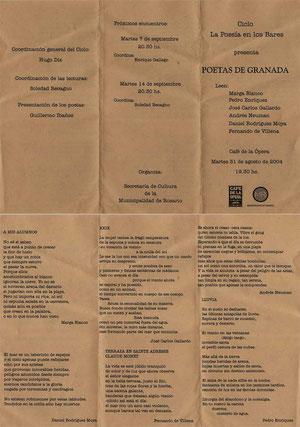 Folleto de una lectura en Rosario (Argentina)