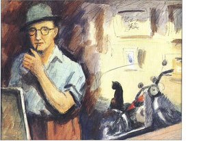 """""""Autoportrait"""" - 1950 - aquarelle (30x23)"""